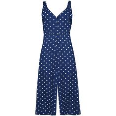 Polka Dot Button Front Jumpsuit by Glamorous ($50) ❤ liked on Polyvore featuring jumpsuits, jump suit, glamorous jumpsuit, blue jump suit, retro jumpsuit and blue jumpsuit