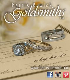 Bridal Ad. Gent's Princess Cut Diamond White Gold Band with Ladies Halo Engagement Ring and Diamond Wedding Band