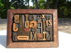 Letterpress Antique Wood Type Graphic Design Full Alphabet Mix Fonts In Frame