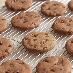 Chocolate-Chocolate Chip Cookies from Eating Well. #Desserts