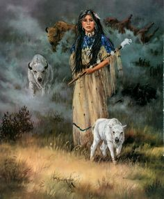 White Buffalo Calf Woman (Lakota: Pte Ska Win), a sacred woman of supernatural origin, is treated as a prophet or a messiah and is central to the Lakota religion. Native American Paintings, Native American Wisdom, Native American Pictures, Indian Pictures, Native American Women, American Indian Art, Native American History, American Indians, American Bison