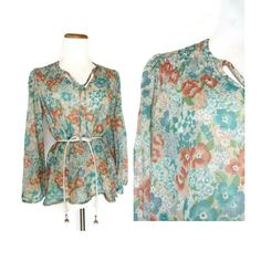 70s Boho Floral Blouse // Sheer Floral Top // Hippie Floral Shirt // Small Medium Large Blouse // Watercolor Floral Top by GoodLuxeVintage on Etsy