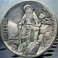 The original Hobo Nickel Coin. Artist Eugene Repnikov Hobo Nickel, Arrow, Coins, Artist, Silver, Rooms, Artists, Arrows, Money