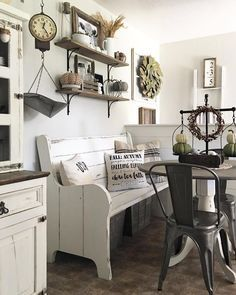 I Spy our #vintagestyle Balance Scales in this beautifully styled, #farmhouse inspired, breakfast nook! #kitchen #kitchendecor #homedecor