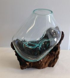 Hand Blown Molten Glass and Teak Wood Sculptured Terrarium / Vase / Fish Bowl