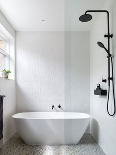Contemporary minimalist bathroom with black taps and shower and terrazzo floor Malvern House, Raked Ceiling, Brick Facade, Bedroom With Ensuite, Minimalist Bathroom, Polished Concrete, Open Plan Living, Bathroom Inspiration, Bathroom Inspo