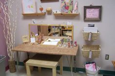 Writing Center-i like the baskets to hold things on the walls, creates dimension! Writing Center Preschool, Writing Area, Preschool Centers, Learning Centers, Writing Centers, Literacy Centres, Reggio Classroom, Classroom Design, Classroom Decor