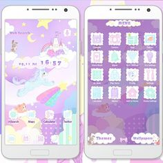 """Unicorn Fantasy"" 9/18 A unicorn flies in the purple sky with a castle in the clouds in the background. Bring this fantasy scene to your smartphone! http://app.android.atm-plushome.com/app.php/app/themeDetail?material_id=1336&rf=twitter #cute #wallpaper #kawaii #icon #plushome  #homescreen #deco #fantasy"