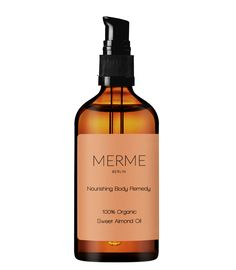 MERME Nourishing Body Remedy is a nourishing, cold pressed Sweet Almond oil containing a blend of essential vitamins that combat dehydration and scarring. Sweet Almond Oil, Whiskey Bottle, Vitamins, Remedies, Organic, Drinks, Health, Berlin, Organic Skin Care