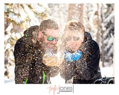 Love this snow shot! It looks like glitter!  Keystone, Colorado | Winter engagement photos | Snowy engagement | Coffee engagement photos | Mountain engagement photos | Snowboard engagement photo shoot