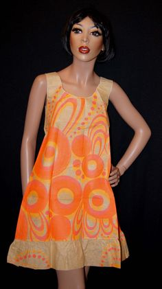 Can You believe, A Paper Dress!!!!  60s Paper Dress / 1960s Psychedelic Op Art  by ModVibeVintage