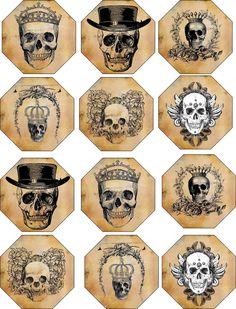 Vintage Inspired Glossy Halloween 12 Label Skull Scrapbooking Decoration Crafts | eBay