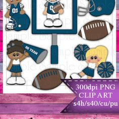 Clipart | Time For Football Gray Silver Dark Blue | Kristi W. Designs Reseller |  for Personal & Commercial Use Instant Download