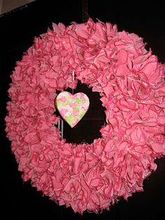 Valentine's Day is a very old and nice holiday. Saint Valentine was beheaded in ancient Rome for marrying the young couples whose parents were against it. Valentine Day Wreaths, Valentine Crafts, Holiday Wreaths, Holiday Crafts, Holiday Fun, Valentine Ideas, Saint Valentine, Be My Valentine, Rag Wreath Tutorial