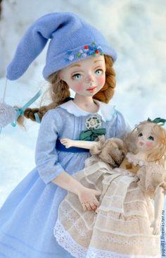 Купить Авторская кукла Снежные сугробы - голубой, авторская кукла, коллекционная кукла, зима