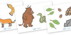 The Gruffalo Story Cut Outs - The Gruffalo, resources, mouse, fox, owl, snake, Gruffalo, fantasy, rhyme, story, story book, story book resources, story sequencing, story resources, cut out