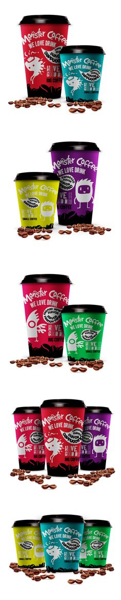 Monster Coffee - Copos de Café. All I can say is WOW!!!! Love the colors used here.