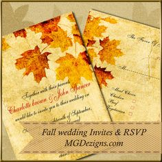 Fall Wedding Invitation templates for a #diy #fall bride  #diybride #diywedding #fallwedding #invitationtemplates