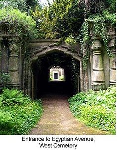 Highgate Cemetery-buried there are Karl Marx, George Elliot, Christina Rossetti, Michael Faraday. the family of Charles Dickens, six Lord Mayors of London,