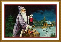 Victorian-Christmas-Santa-Claus-44-Counted-Cross-Stitch-Chart-Free-Ship-USA