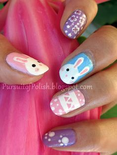 easter-nails, gonna try bunnies on one nail, chick on another, flower, and eggs!