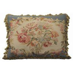 aubusson blue | Aubusson Pillow Bouquet of Soft Roses with Blue