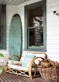 once upon a beach shack. / sfgirlbybay rustic porch mint green surfboard and bamboo sette. / sfgirlbybay Beach Home Decor Cottage Style Living Room, Beach Cottage Style, Cottage Style Homes, Beach Cottage Decor, Cottage Design, Coastal Cottage, Coastal Style, Shabby Cottage, Coastal Living