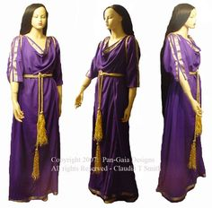 A Grecian gown in the peplos style. The fabric is synthetic, but it's very beautiful. Kind of shiny, seafoam green on one side and yellow-green on the other side. The dress is, of course, reversibl. Fancy Dress, Dress Up, Roman Dress, Grecian Gown, Medieval Costume, Historical Clothing, Purple Gold, Pretty Dresses, Designer Dresses