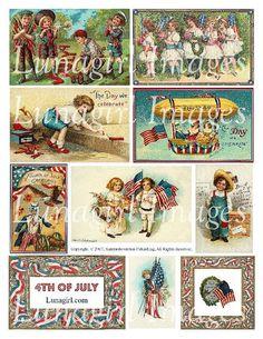 JULY 4th digital collage sheet DOWNLOAD Fourth Patriotic Victorian Vintage Images Cards ephemera children Independence Day fireworks flags via Etsy