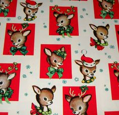 Vintage Christmas Wrapping Paper ~ Cute Reindeer * Circa, 1950's