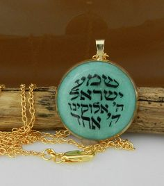 Shema Israel necklace  judaica jewelry with hebrew letters .