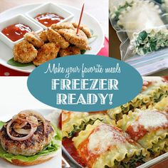 Heathly Freezer Meals   *Spinach Lasagna Rolls - Made these LOVE them!  *Baked Chicken Nugets  * Turkey Zucchini Burgers