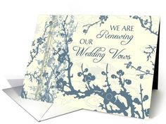 Blue Floral Vow Renewal Invitation Card