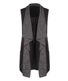 Look at this Black & Gray Mélange Open Vest on #zulily today!