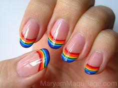 Rainbow-tipped nails