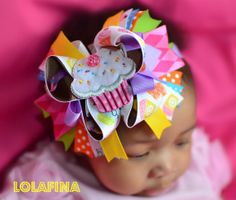 Baby Headband...Bow...Cupcake...Birthday Headband by lolafina