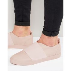 ASOS Slip On Sneakers in Pink With Elastic Strap ($32) ❤ liked on Polyvore featuring men's fashion, men's shoes, men's sneakers, pink, mens slip on shoes, mens pink shoes, mens pink sneakers, mens slipon shoes and asos mens shoes