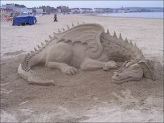 Excellent Detailed Sand Art Sculptures At Beach Will Blow Your Mind - Swish Today Snow Sculptures, Sculpture Art, Ice Art, Snow Art, Dragon Art, Beach Art, Mythical Creatures, Oeuvre D'art, Amazing Art