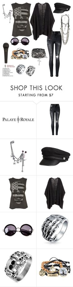 """Interviewing Palaye Royale"" by rhiannon-src ❤ liked on Polyvore featuring Hot Topic, H&M, Linda Farrow, Bling Jewelry, West Coast Jewelry and Warner Bros."