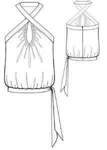 Halter Top with sash tie  **PDF Pattern**