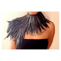 Collar, handmade, with long feathers of recycled inner tube ❤ liked on Polyvore featuring accessories