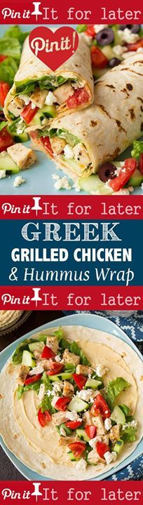 Greek Grilled Chicken and Hummus Wrap - SO GOOD! Like a simplified version of a gyro. #sexy