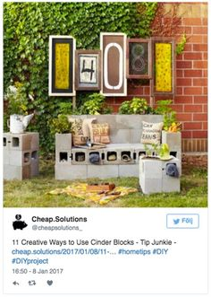 13 smarte tips som viser hvorfor betonblokke er alle indretteres drøm Outdoor Rooms, Outdoor Tables, Outdoor Decor, Tip Junkie, Front Yard Patio, Cinder, House Numbers, Home Hacks, Easy Projects