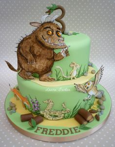 Gruffalo cake Girly Birthday Cakes, 1st Boy Birthday, Birthday Ideas, Gruffalo Party, Gruffalo Activities, Woodland Cake, Animal Cakes, Fall Cakes, Celebration Cakes