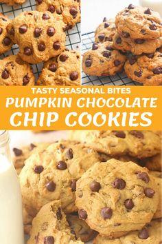 Pumpkin Spice Cookie Recipe, Easy Chocolate Chip Cookies, Pumpkin Chocolate Chip Cookies, Yummy Cookies, Easy Pumpkin Cookies, Halloween Pumpkin Cookies, Paleo Cookies, Easy Homemade Cookies, Homemade Pumpkin Puree