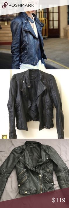 """ZARA Moto Lambskin Leather Jacket XS Gorgeous Zara black lambskin leather jacket size xs See pictures for wear  ALL LOWBALL OFFERS ARE REJECTED.  Lying flat approximate measurements Bust 16"""" Shoulder to bottom approx 20"""" or 21"""" Waist 14.5"""" Sleeve length measured at the outer seam, 23.5"""" Zara Jackets & Coats"""