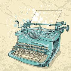 Vintage Typewriter Drawing Royalty Free Stock Vector Art Illustration