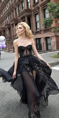 18 Gorgeous Black Wedding Dresses ❤ See more: http://www.weddingforward.com/black-wedding-dresses/ #weddings #dresses