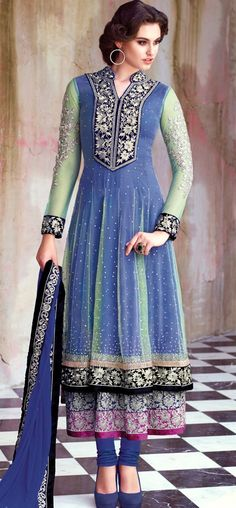 Tranquil blue and green layered anarkali: KSL2403
