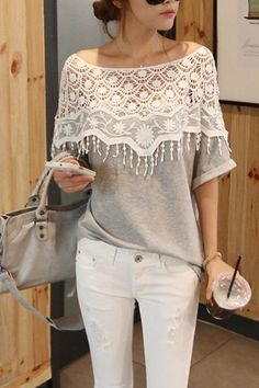 Cute Grey Lace Top, t shirt, lace, spring, summer, girly,women,fashion, boho,chic,bohemian,